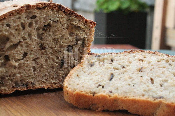 Sourdough wheat-rye mushrooms bread